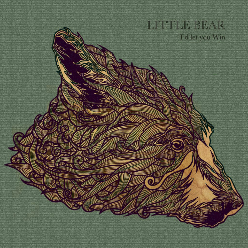 Colour illustration in pen of a bear for musicians Little Bear band from Derry, Ireland EP CD cover 'I'd Let You Win' by Dublin based illustrator John Rooney