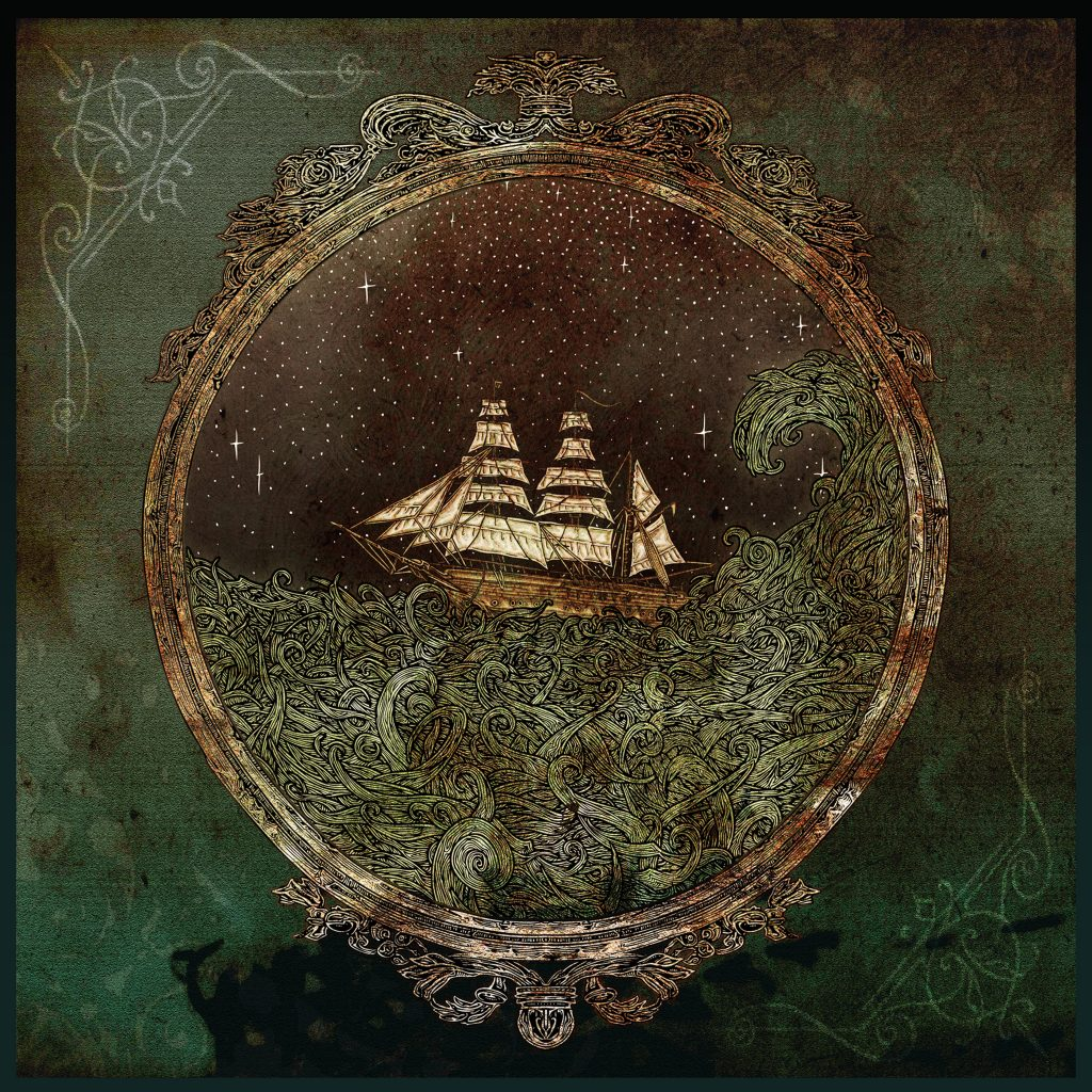 Colour illustration in pen of a tall ship boat in the ocean sea with waves for musicians Little Bear band from Derry Ireland CD EP cover 'Ancient Wave' by Dublin based illustrator John Rooney