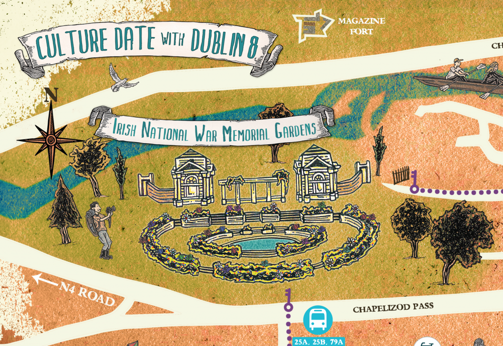 Culture Date with Dublin 8 illustrated festival map close up of National War Memorial Garden.