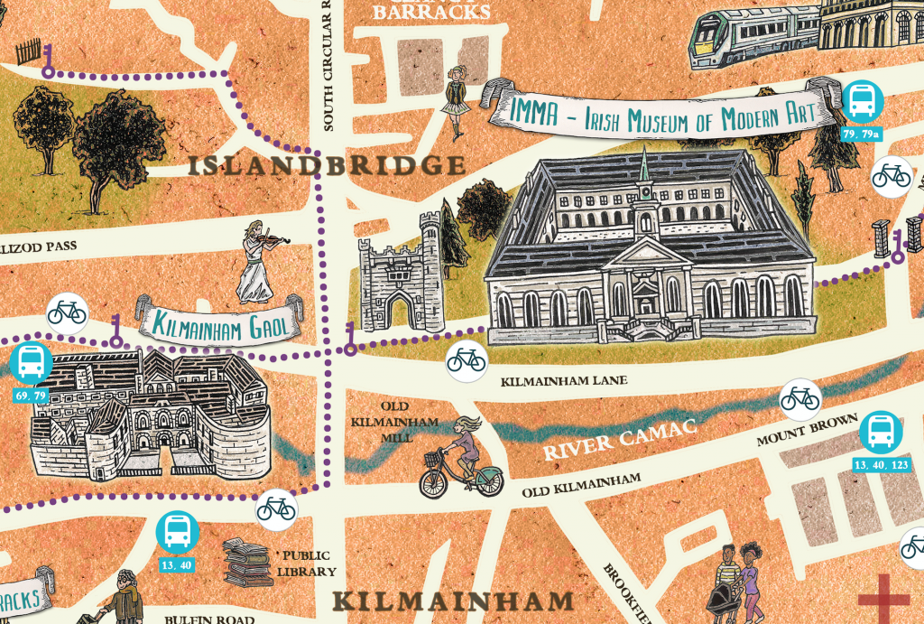 Culture Date with Dublin 8 illustrated festival map close up of Kilmainham.