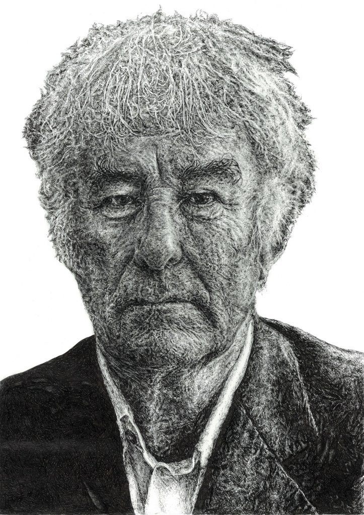 Signed illustration portrait print of Irish writer Seamus Heaney by Dublin based illustrator John Rooney in pen, ink and pencil
