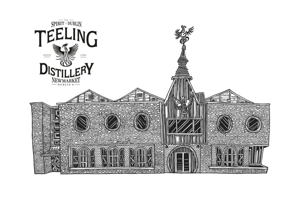 Signed Illustration line drawing print of Teeling Whiskey Distillery building in Dublin Ireland by Dublin based illustrator John Rooney in pen and ink