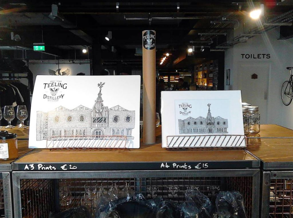 The Teelings Illustration available in the Teelings Distillery Giftshop, Newmarket Square, Dublin.