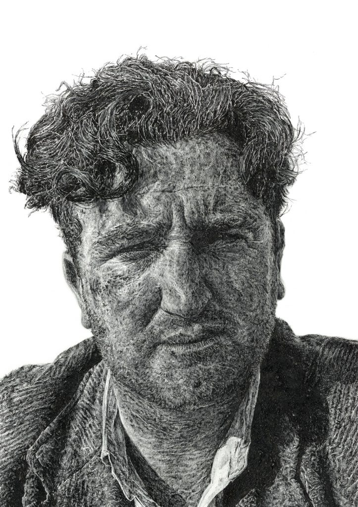 Signed illustration portrait print of Irish writer Brendan Behan by Dublin based illustrator John Rooney in pen and ink and pencil