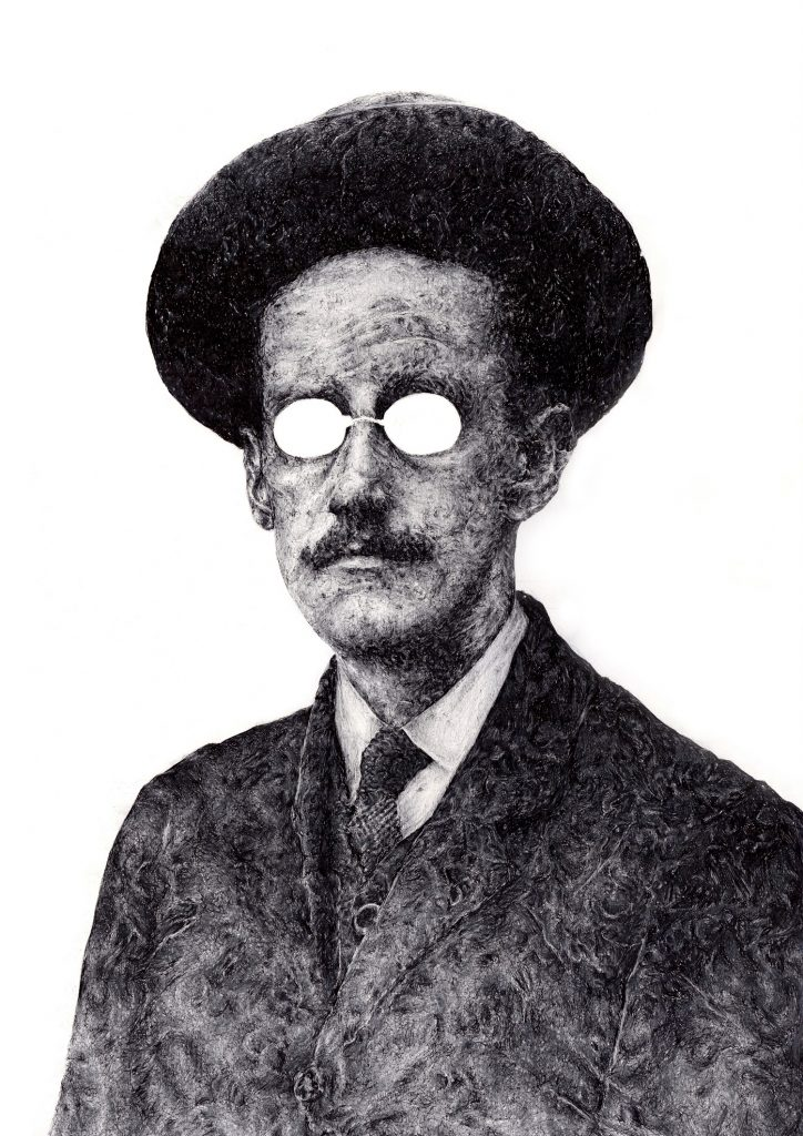 Signed illustration portrait print of Irish writer James Joyce with white glasses by Dublin based illustrator John Rooney in pen, ink and pencil