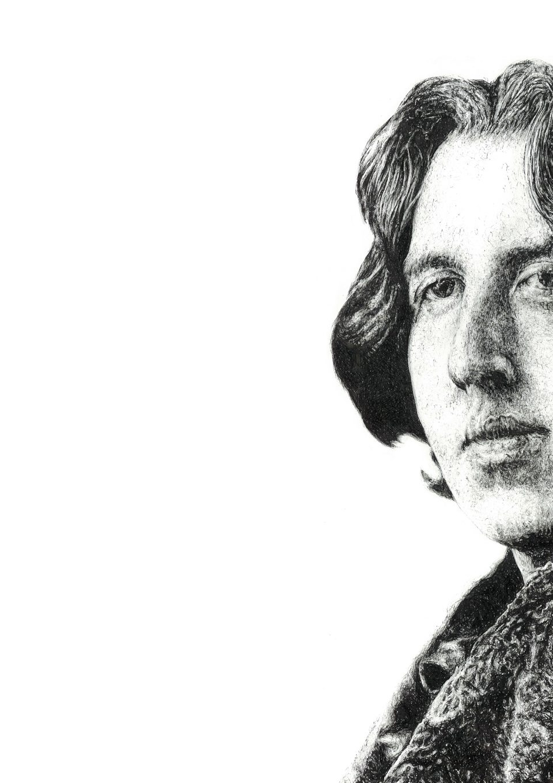 Signed illustration portrait print of Irish writer Oscar Wilde by Dublin based illustrator John Rooney in pen, ink and pencil