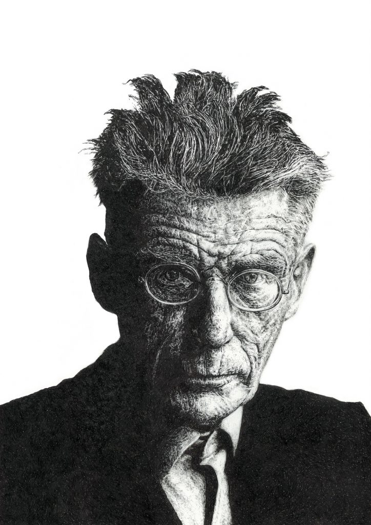 Signed illustration portrait print of Irish writer Samuel Beckett by Dublin based illustrator John Rooney in pen, ink and pencil