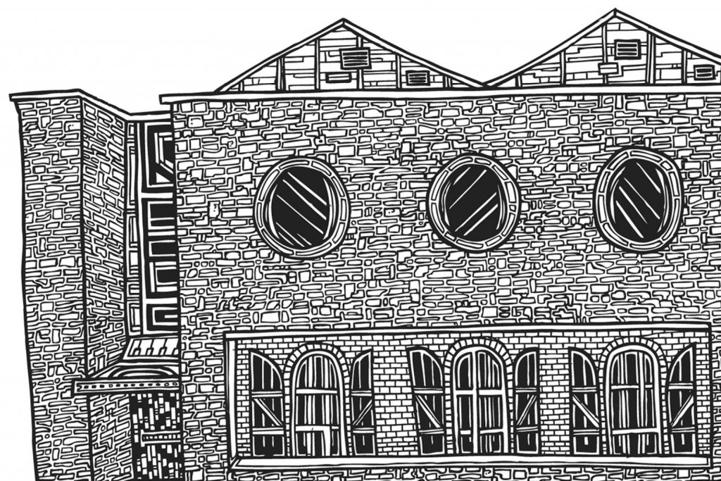 signed Illustration line drawing print of Teeling Whiskey Distillery building in Dublin Ireland by Dublin based illustrator John Rooney in pen and ink.