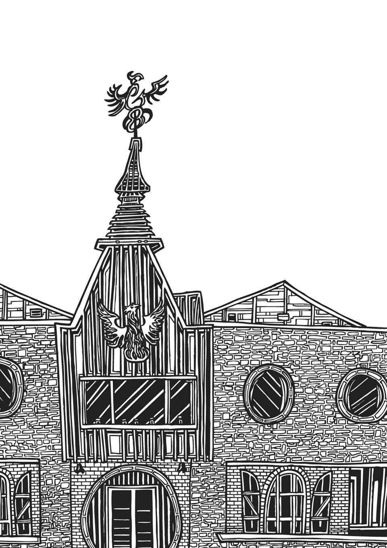 signed Illustration line drawing print of Teeling Whiskey Distillery building in Dublin Ireland by Dublin based illustrator John Rooney in pen and ink.