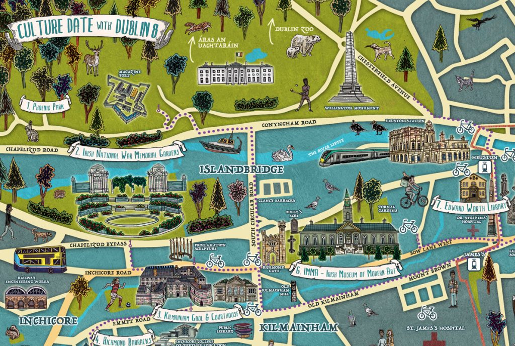 Hand-drawn colourful illustration of a map for festival in Ireland called Culture Date with Dublin 8 including IMMA, Kilmainham Gaol, Phoenix Park, animals, NCAD, Christ Church, using pen and pencil and photoshop by Berlin-based Irish artist and illustrator John Rooney