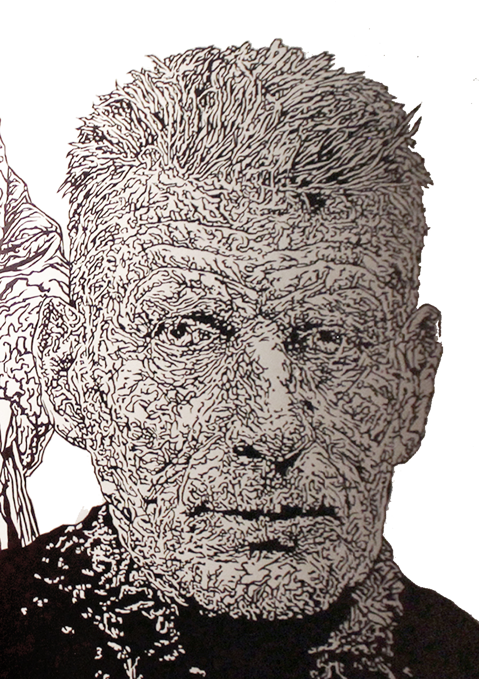 Mural graffiti wall-art illustration portraits of famous Irish authors and playwrights Oscar Wilde and Samuel Beckett, hand drawn with permanent markers in a pub / bar / restaurant in Chamonix-Mont-Blanc, France in the Alps by Berlin-based artist John Rooney