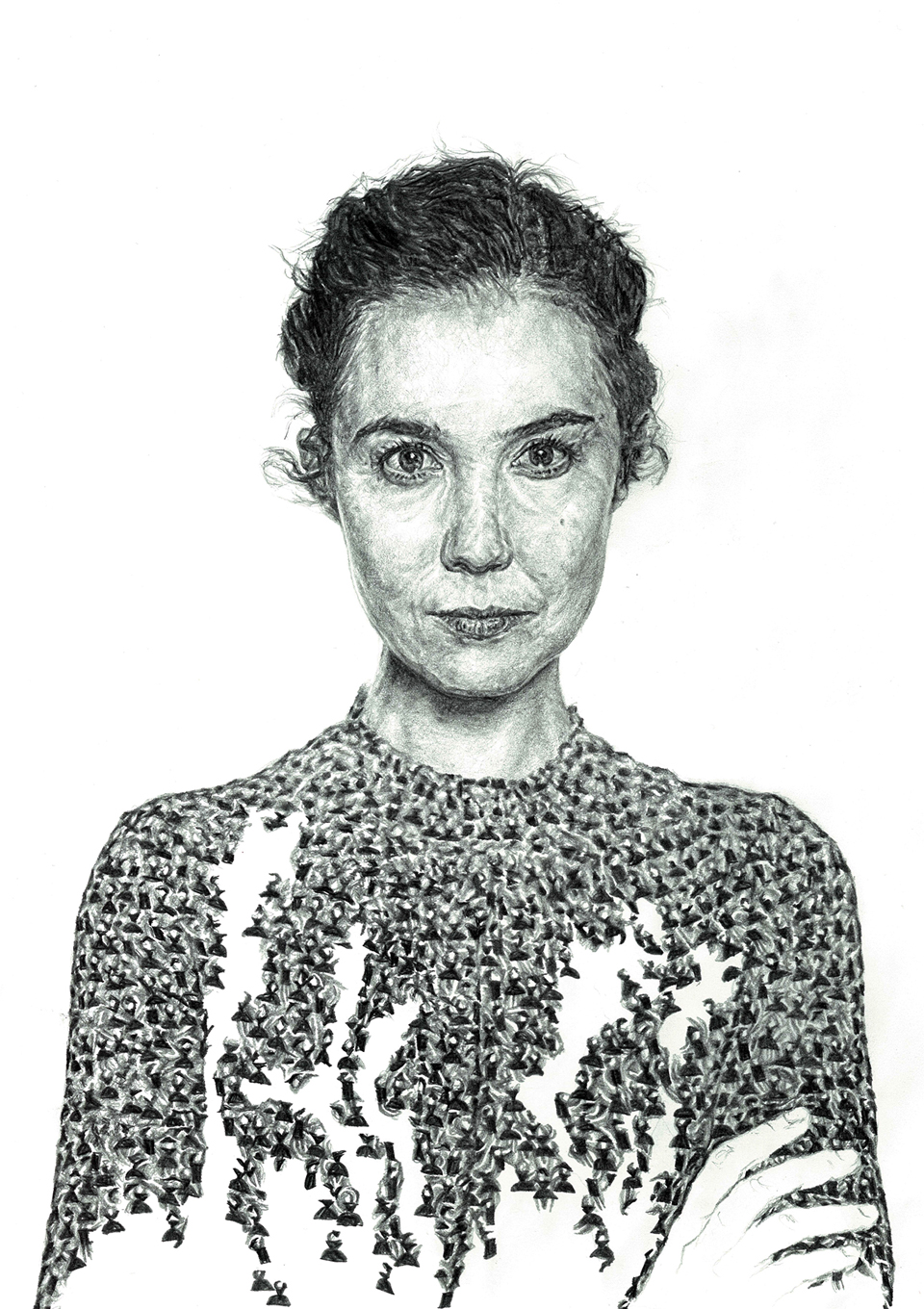 Hand-drawn unfinished portrait illustration of musician Lisa Hannigan as part of a solo exhibition for the Sounds From A Safe Harbour festival in Cork city Ireland, 2017 using pen and pencil by Irish, Berlin-based artist and illustrator John Rooney