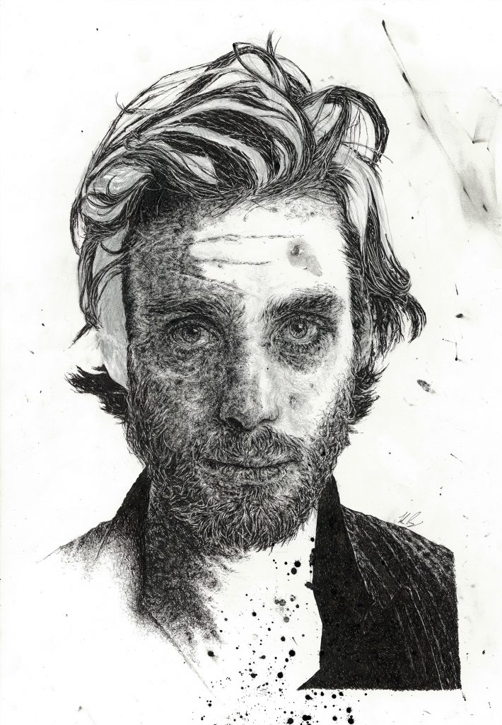 Hand-drawn unfinished portrait illustration of actor Cillian Murphy as part of a solo exhibition for the Sounds From A Safe Harbour festival in Cork city Ireland, 2017 using pen and pencil by Irish, Berlin-based artist and illustrator John Rooney