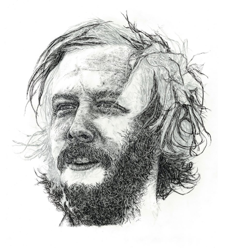 Hand-drawn unfinished portrait illustration of musician Bon Iver as part of a solo exhibition for the Sounds From A Safe Harbour festival in Cork city Ireland, 2017 using pen and pencil by Irish, Berlin-based artist and illustrator John Rooney