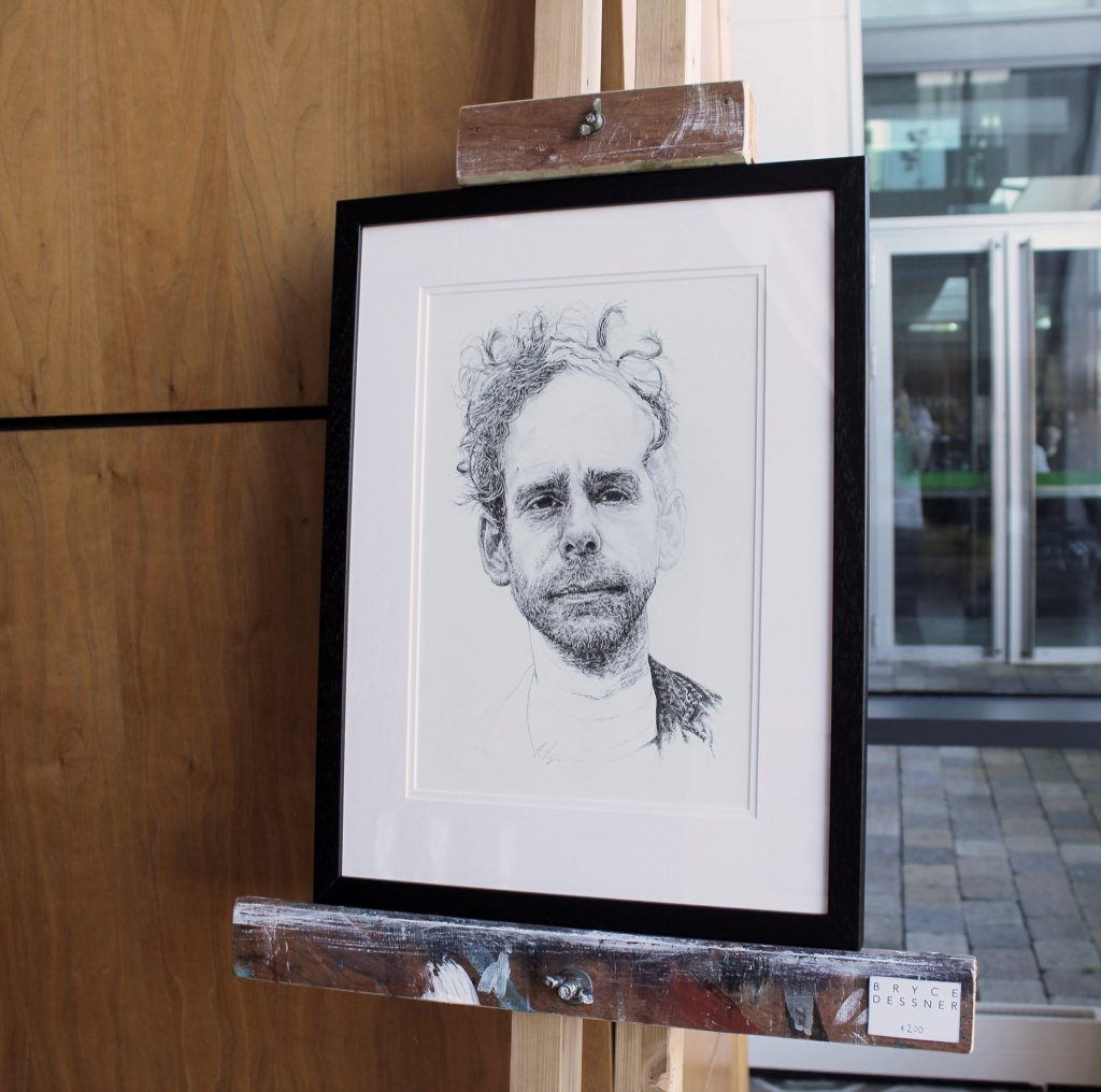 Hand-drawn unfinished portrait illustration of musician Bryce Dressner as part of a solo exhibition for the Sounds From A Safe Harbour festival in Cork city Ireland, 2017 using pen and pencil by Irish, Berlin-based artist and illustrator John Rooney