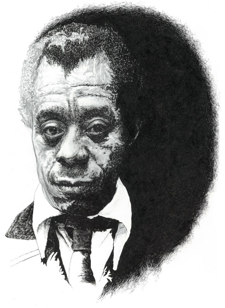 Signed black and white illustration portrait print of African American writer James Baldwin by Irish Berlin-based illustrator John Rooney in pen, ink and pencil