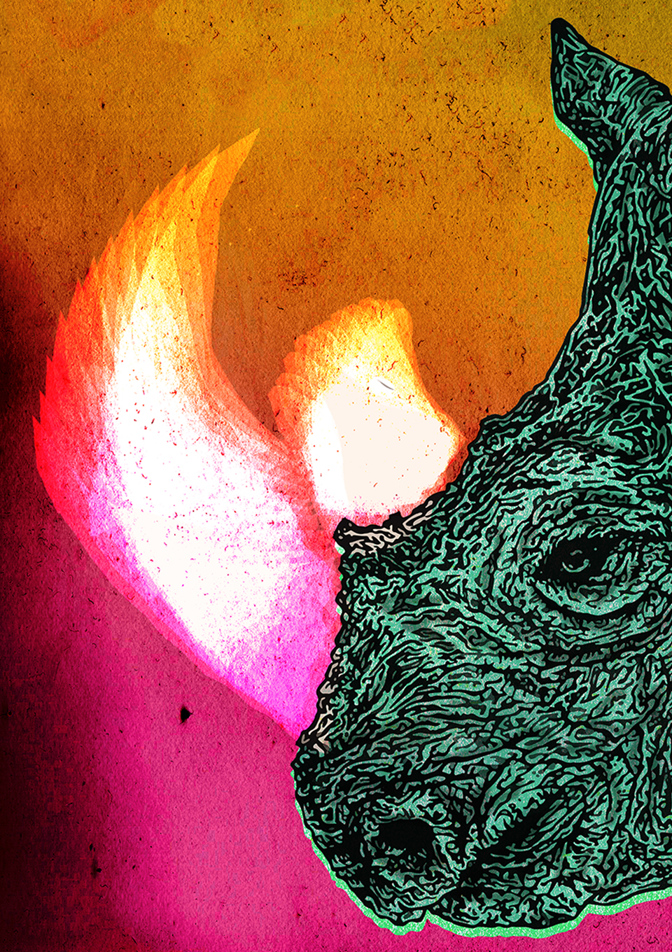 "Hand-drawn colourful illustration of a rhinoceros for Irish musician Lasertom's music EP release 'Super Saor"" 2018 using pen and pencil by Berlin-based artist and illustrator John Rooney"