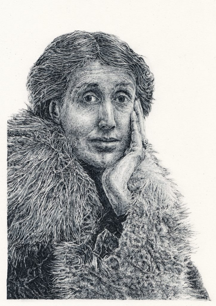Signed black and white illustration portrait print of English female writer Virginia Woolf by Irish Berlin-based illustrator John Rooney in pen, ink and pencil