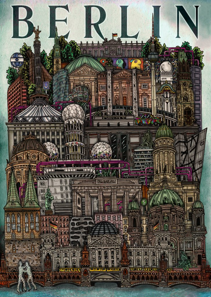 Hand-drawn colourful, detailed illustration of capital of Germany - Berlin including it's famous architecture Reichstag, Berliner Cathedral, Checkpoint Charlie, Kreuzberg,  using pen and pencil and digitally coloured on Photoshop by Irish artist and illustrator John Rooney