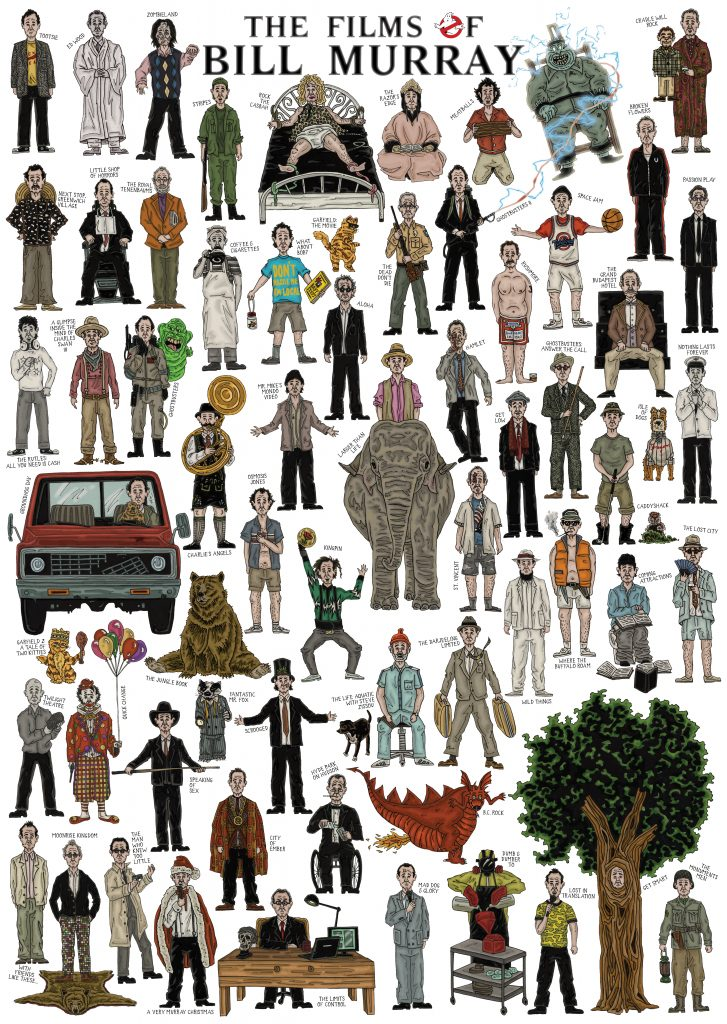 Hand-drawn colourful and detailed illustration film poster of caricature sketches of Hollywood actor Bill Murray in all of his movie roles including Ghostbusters, Groundhog Day, Zombieland, What About Bob?, Lost In Translation, Wes Anderson's The Life Aquatic with Steve Zissou, Caddyshack using pen and pencil by Berlin-based artist and illustrator John Rooney