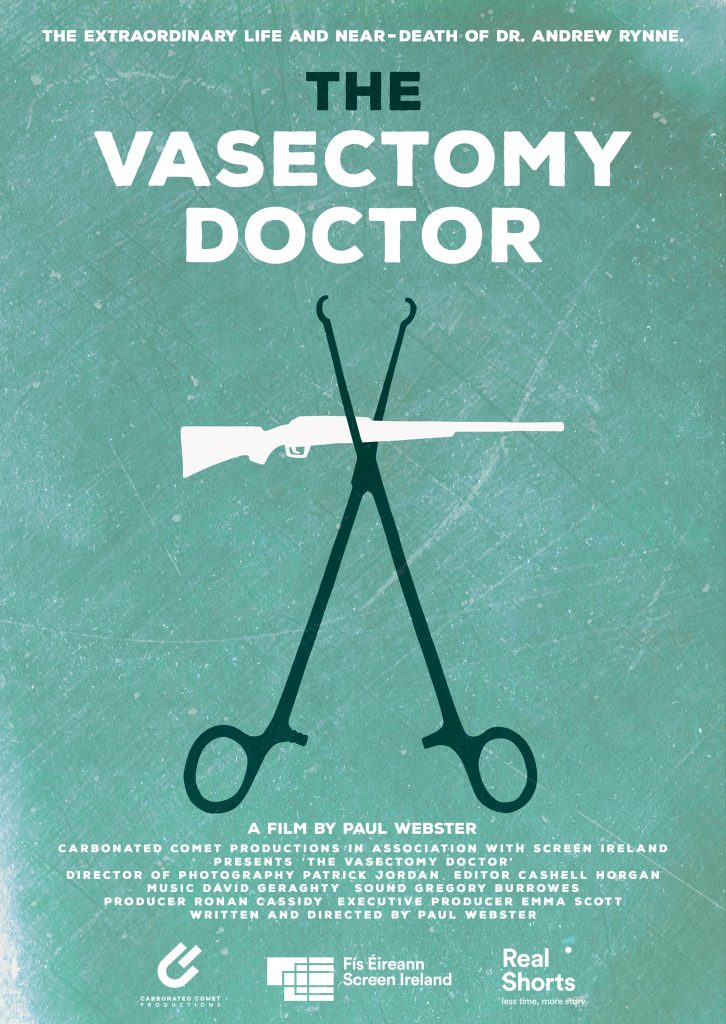 Graphic design film poster of Irish documentary about the predicaments of Dr. Andrew Rynne by Berlin-based illustrator, artist and designer John Rooney in pen and ink