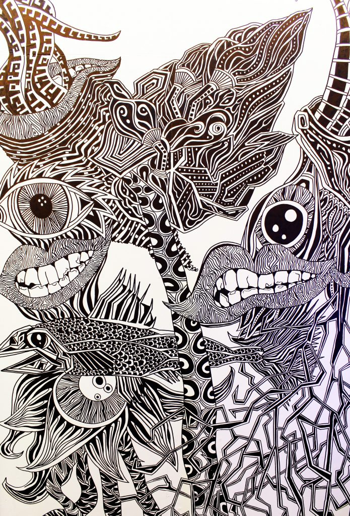 Illustrated, detailed black and white abstract line drawing of eyes, lips, flowers with permanent markers installation graffiti wallart piece in Ballina, Mayo, Ireland by berlin-based irish illustrator John Rooney.