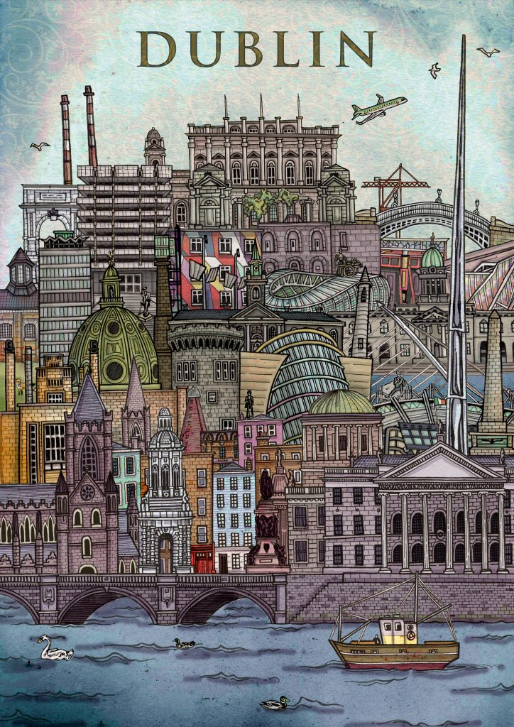 Hand-drawn colourful, detailed illustration of capital of Ireland - Dublin, including it's famous architecture such as the GPO, Dublin Castle, The Spire, Christ Church, Croke Park, Aviva Stadium, Phoenix Park using pen and pencil and digitally coloured on Photoshop by Irish artist and illustrator John Rooney