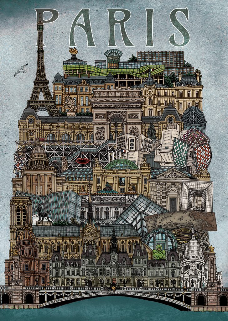 Hand-drawn colourful, detailed illustration of capital of France - Paris including it's famous architecture such as the Eiffel Tower Tower, Cathédrale Notre‑Dame de Paris, Louvre Museum, Les Invalides, Arc de Triomphe, using pen and pencil and digitally coloured on Photoshop by Irish artist and illustrator John Rooney