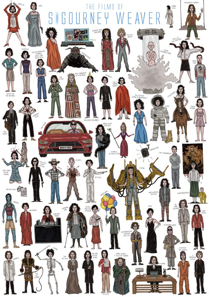 Hand-drawn colourful and detailed illustration film poster of caricature sketches of Hollywood actor Sigourney Weaver in all of her movie roles including Ghostbusters I & II, Avatar, Galaxy Quest, The Ice Storm, Copycat, Gorillas in the Mist, Working Girl using pen and pencil by Berlin-based artist and illustrator John Rooney