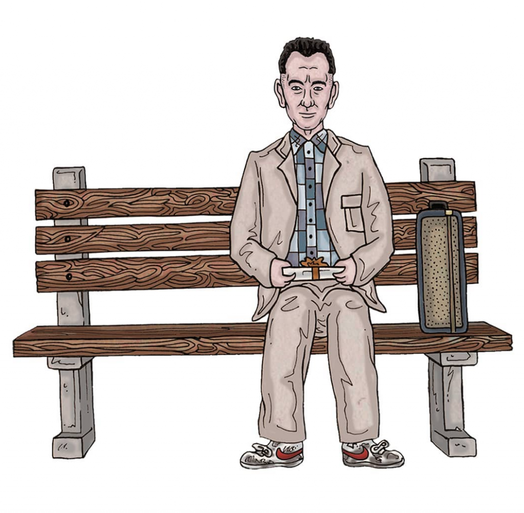 Hand-drawn colourful and detailed illustration film poster of caricature sketches of Hollywood actor Tom Hanks in all of his movie roles including Forrest Gump, Saving Private Ryan, Toy Story series, Big, Cast Away, The Green Mile using pen and pencil by Berlin-based artist and illustrator John Rooney